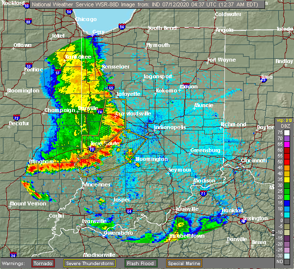 Radar Image for Severe Thunderstorms near Indianapolis, IN at 7/12/2020 12:47 AM EDT