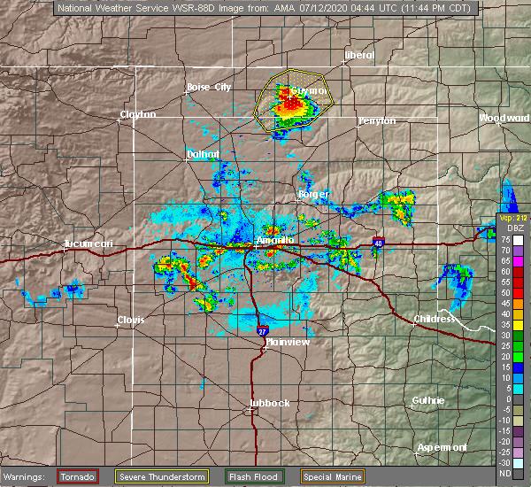 Radar Image for Severe Thunderstorms near Hooker, OK at 7/11/2020 11:52 PM CDT