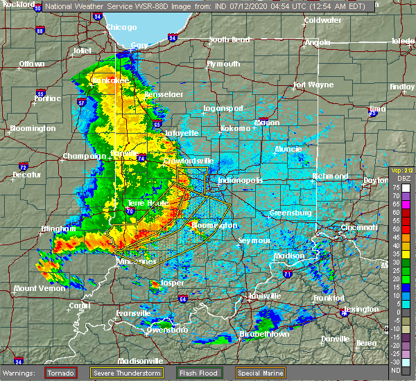 Radar Image for Severe Thunderstorms near Indianapolis, IN at 7/12/2020 12:56 AM EDT