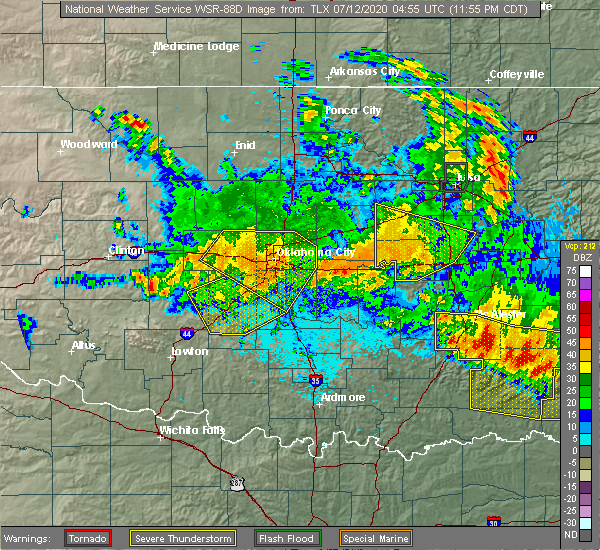 Radar Image for Severe Thunderstorms near Mustang, OK at 7/11/2020 11:57 PM CDT