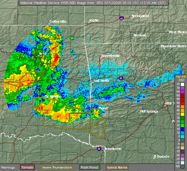 Radar Image for Severe Thunderstorms near Antlers, OK at 7/12/2020 12:18 AM CDT