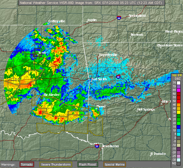 Radar Image for Severe Thunderstorms near Antlers, OK at 7/12/2020 12:25 AM CDT