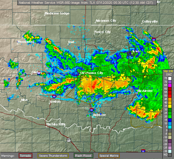 Radar Image for Severe Thunderstorms near Goldsby, OK at 7/12/2020 12:35 AM CDT