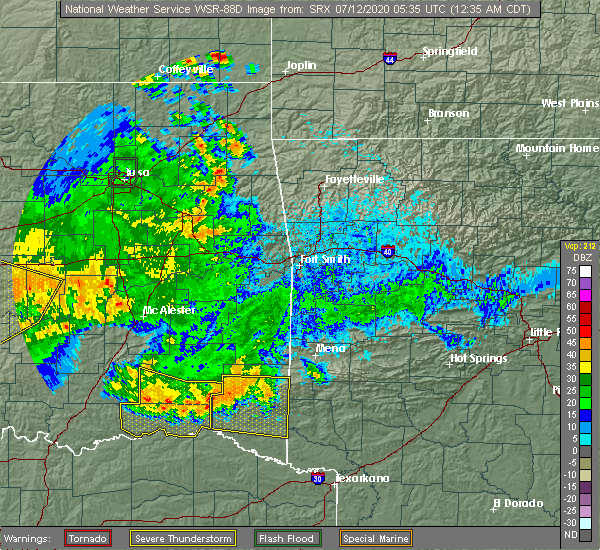 Radar Image for Severe Thunderstorms near Antlers, OK at 7/12/2020 12:44 AM CDT