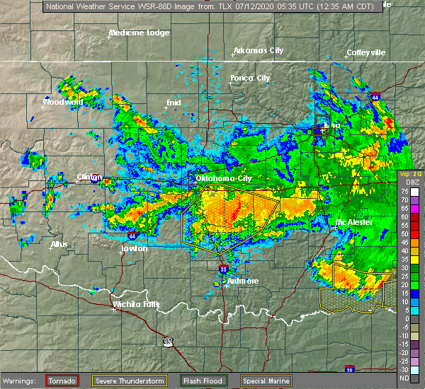 Radar Image for Severe Thunderstorms near Stonewall, OK at 7/12/2020 12:44 AM CDT