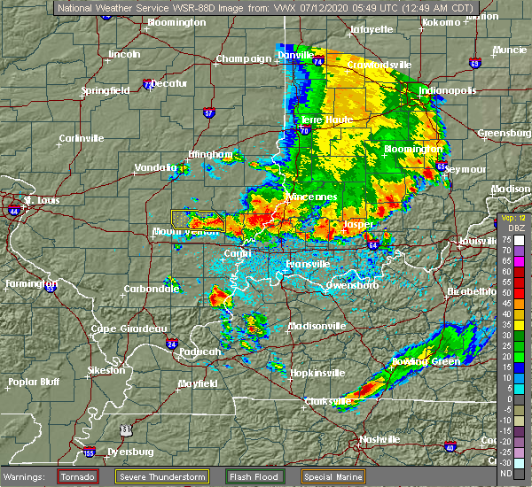Radar Image for Severe Thunderstorms near Morganfield, KY at 7/12/2020 12:51 AM CDT