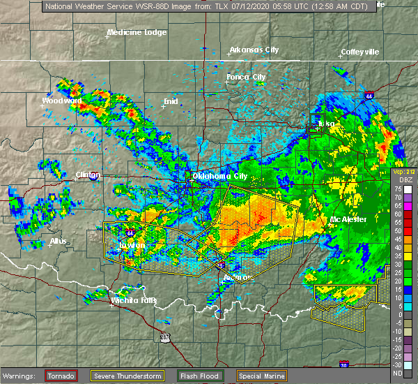 Radar Image for Severe Thunderstorms near Stonewall, OK at 7/12/2020 1:03 AM CDT
