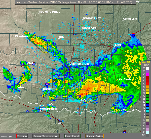 Radar Image for Severe Thunderstorms near Stonewall, OK at 7/12/2020 1:23 AM CDT
