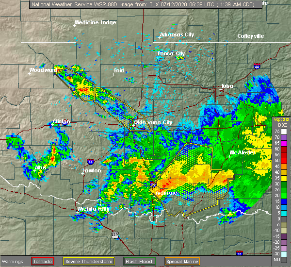 Radar Image for Severe Thunderstorms near Stonewall, OK at 7/12/2020 1:43 AM CDT