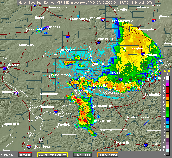 Radar Image for Severe Thunderstorms near Clay, KY at 7/12/2020 1:49 AM CDT