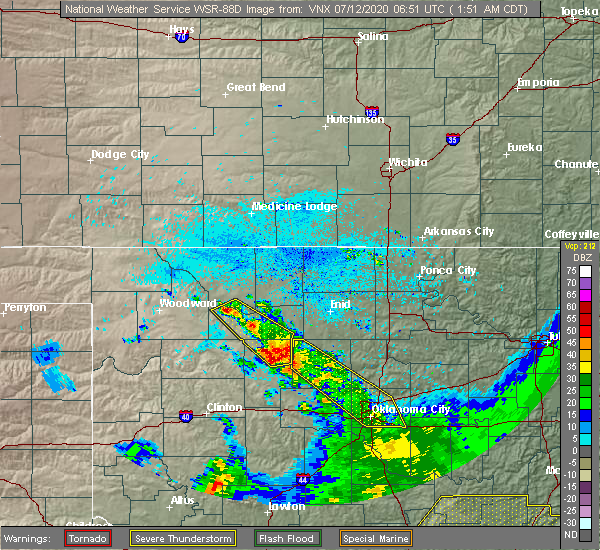 Radar Image for Severe Thunderstorms near Kingfisher, OK at 7/12/2020 1:57 AM CDT