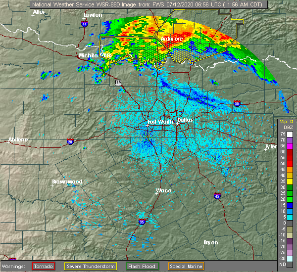 Radar Image for Severe Thunderstorms near Callisburg, TX at 7/12/2020 1:59 AM CDT