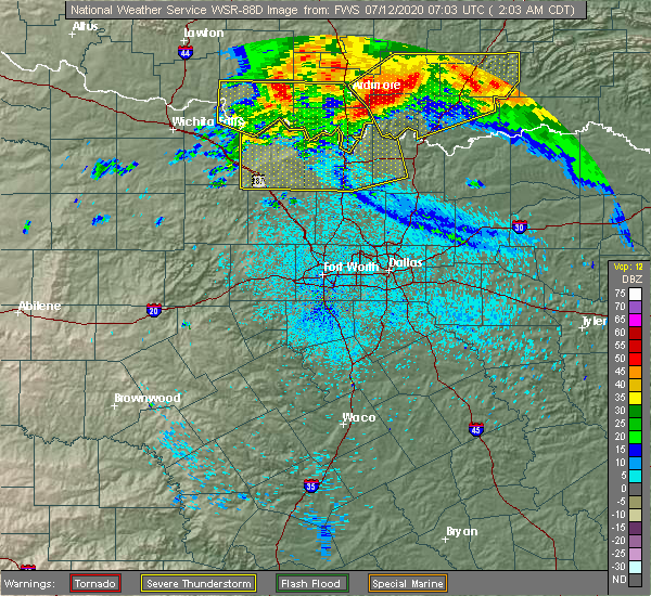 Radar Image for Severe Thunderstorms near Bowie, TX at 7/12/2020 2:08 AM CDT
