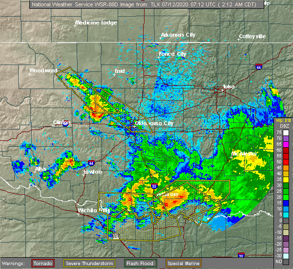 Radar Image for Severe Thunderstorms near Forest Park, OK at 7/12/2020 2:17 AM CDT