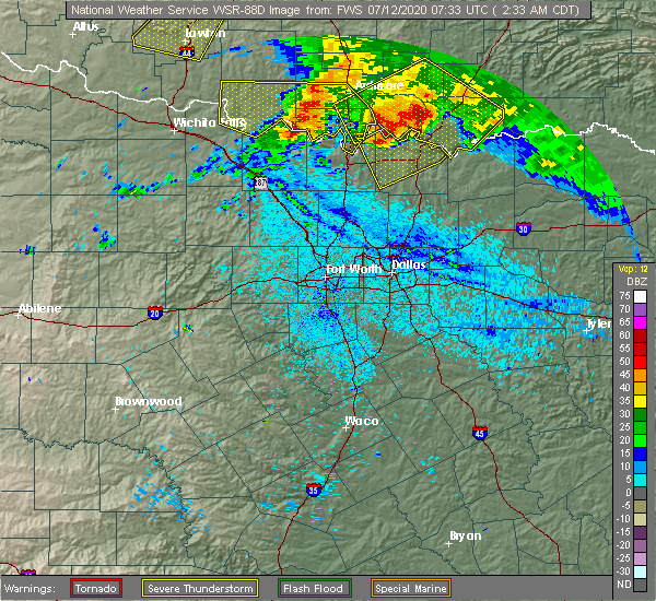 Radar Image for Severe Thunderstorms near Thackerville, OK at 7/12/2020 2:36 AM CDT