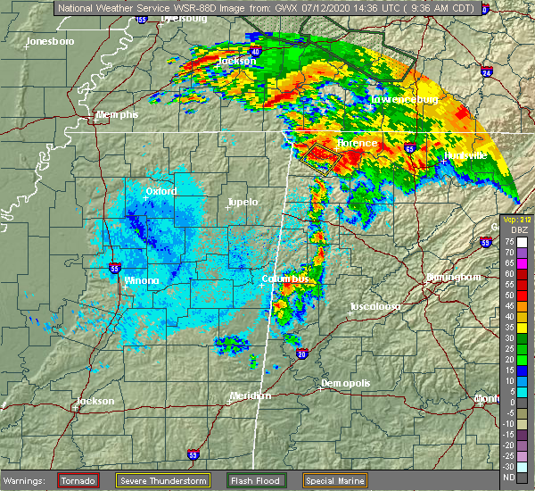 Radar Image for Severe Thunderstorms near Tuscumbia, AL at 7/12/2020 9:38 AM CDT