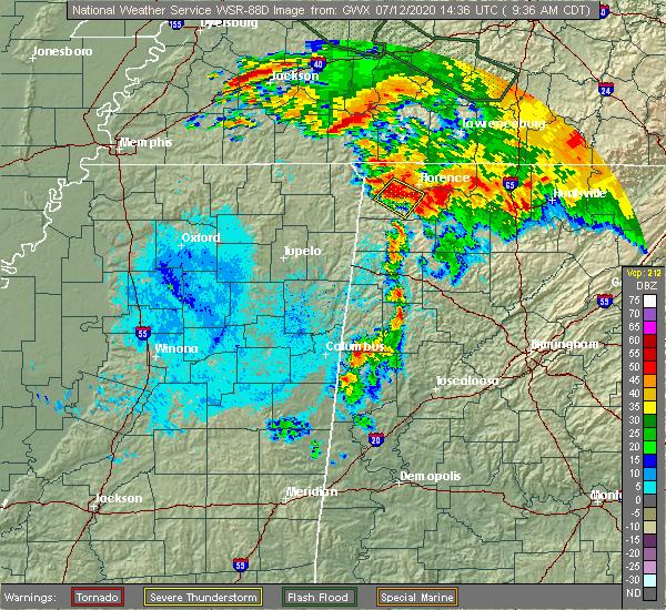 Radar Image for Severe Thunderstorms near Adamsville, TN at 7/12/2020 9:41 AM CDT