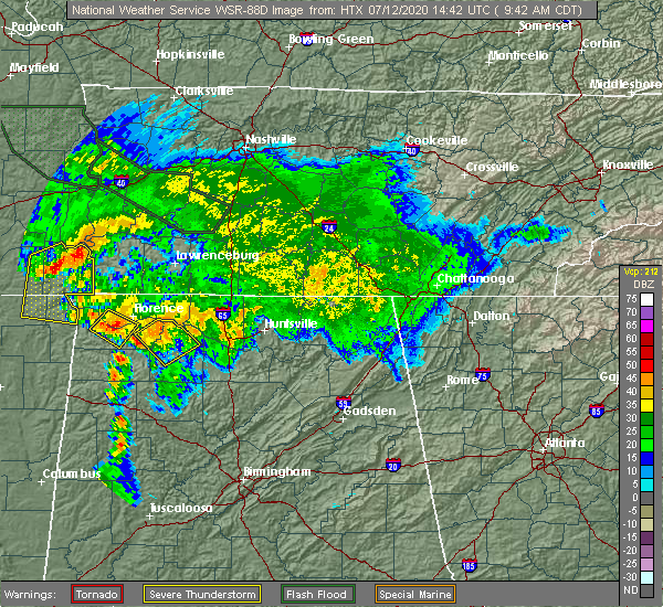 Radar Image for Severe Thunderstorms near Muscle Shoals, AL at 7/12/2020 9:44 AM CDT