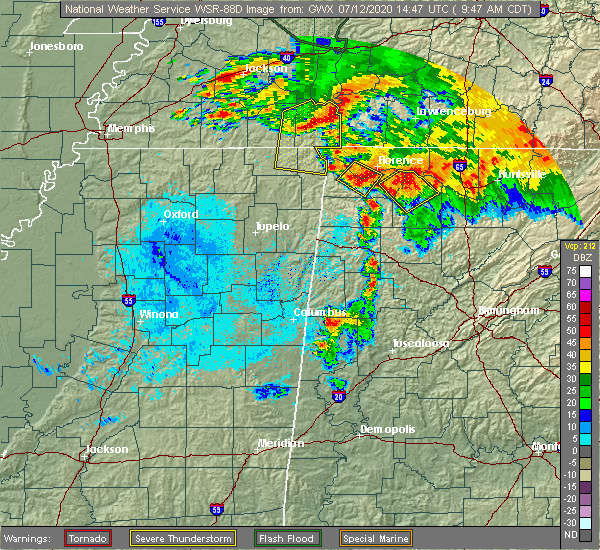 Radar Image for Severe Thunderstorms near Tuscumbia, AL at 7/12/2020 9:53 AM CDT