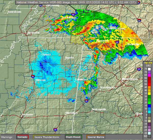 Radar Image for Severe Thunderstorms near Tuscumbia, AL at 7/12/2020 9:58 AM CDT
