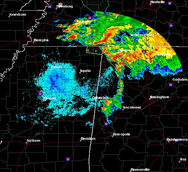 Radar Image for Severe Thunderstorms near Cherokee, AL at 7/12/2020 10:02 AM CDT