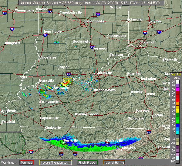Radar Image for Severe Thunderstorms near Tell City, IN at 7/12/2020 10:25 AM CDT