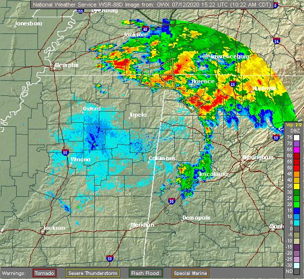 Radar Image for Severe Thunderstorms near Cherokee, AL at 7/12/2020 10:26 AM CDT