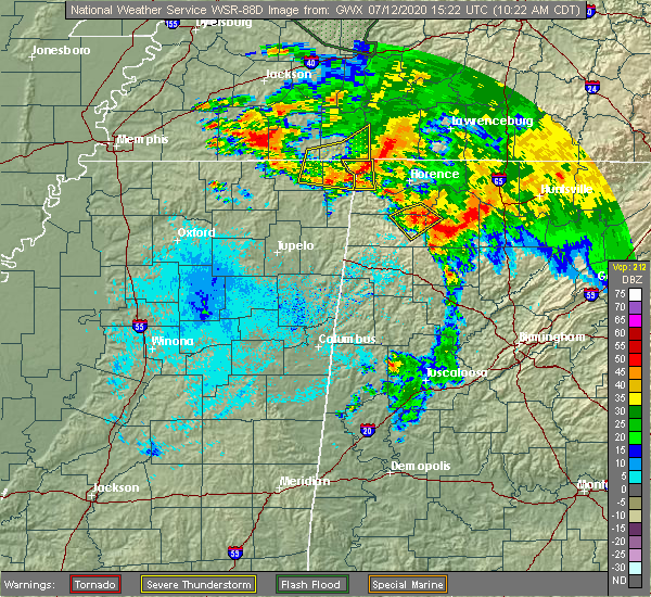 Radar Image for Severe Thunderstorms near Walnut Grove, TN at 7/12/2020 10:28 AM CDT