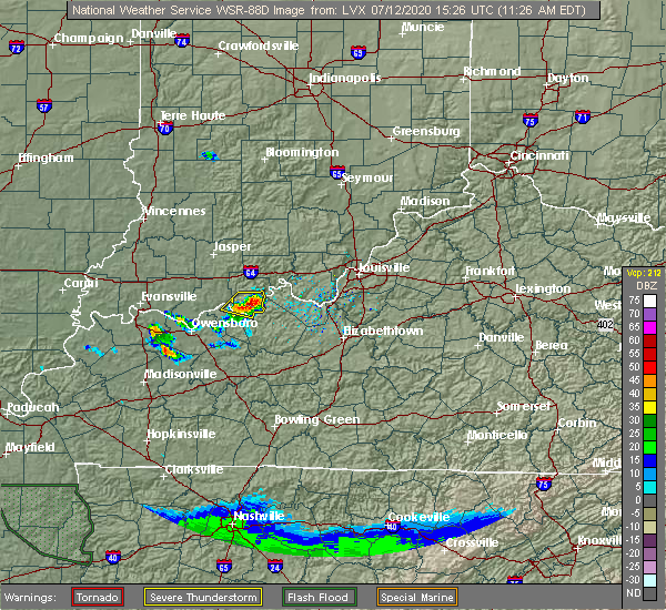 Radar Image for Severe Thunderstorms near Cannelton, IN at 7/12/2020 10:31 AM CDT