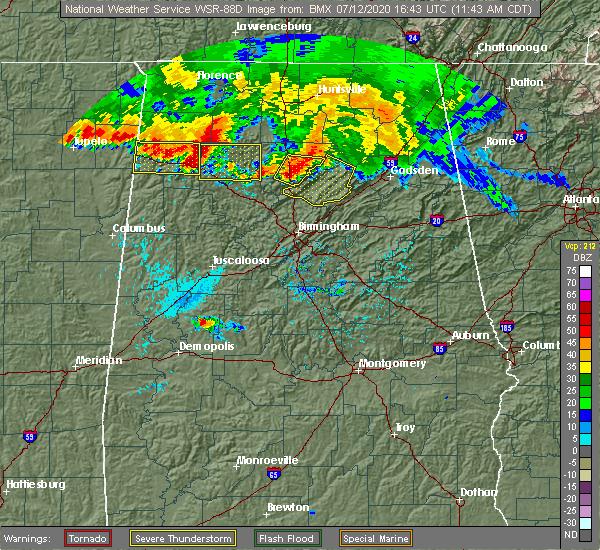 Radar Image for Severe Thunderstorms near Hanceville, AL at 7/12/2020 11:52 AM CDT