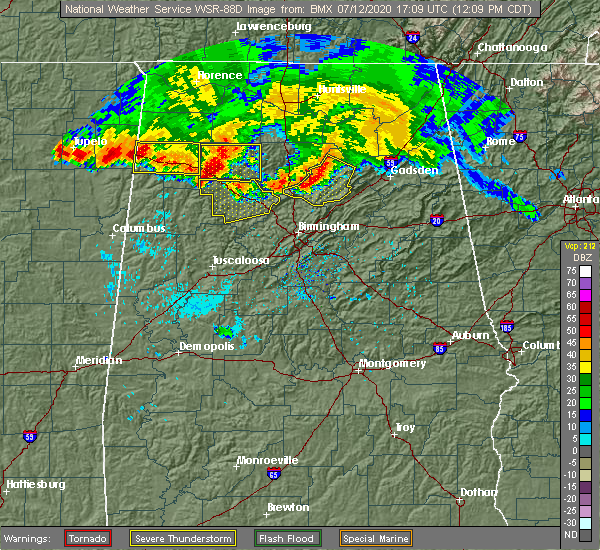 Radar Image for Severe Thunderstorms near Nauvoo, AL at 7/12/2020 12:12 PM CDT