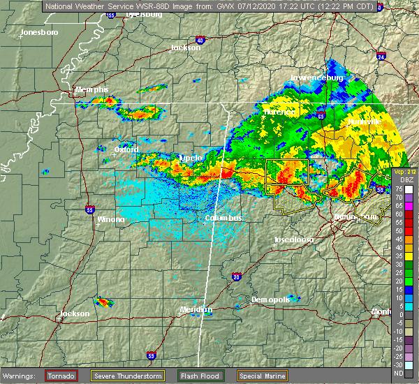 Radar Image for Severe Thunderstorms near Detroit, AL at 7/12/2020 12:32 PM CDT
