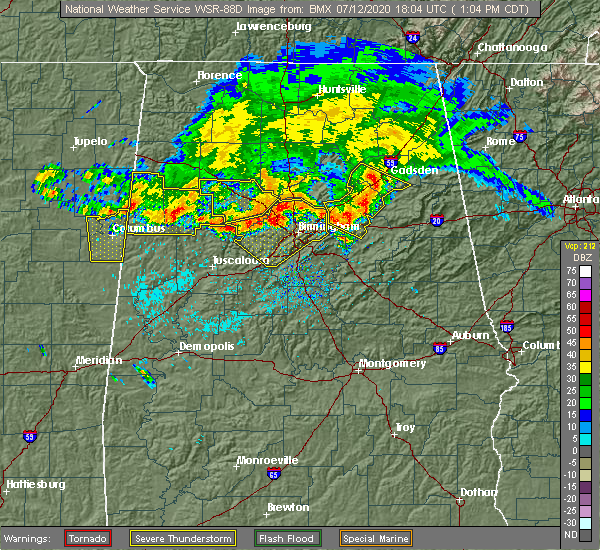 Radar Image for Severe Thunderstorms near Oxford, AL at 7/12/2020 1:09 PM CDT