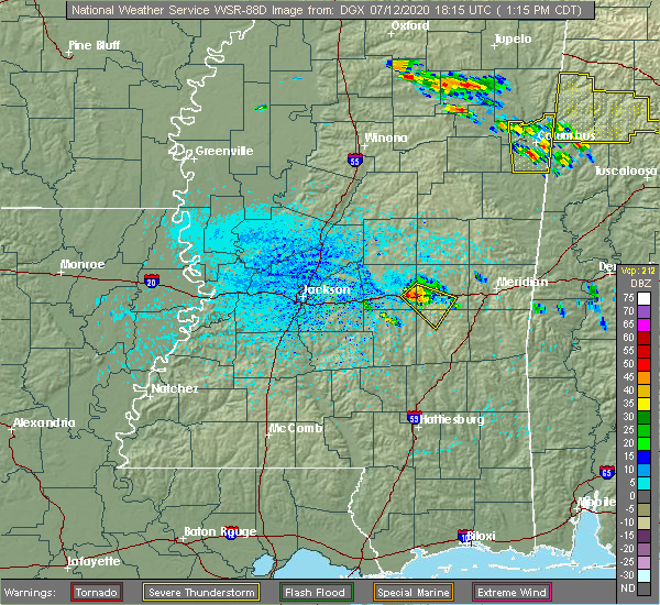 Radar Image for Severe Thunderstorms near Newton, MS at 7/12/2020 1:24 PM CDT