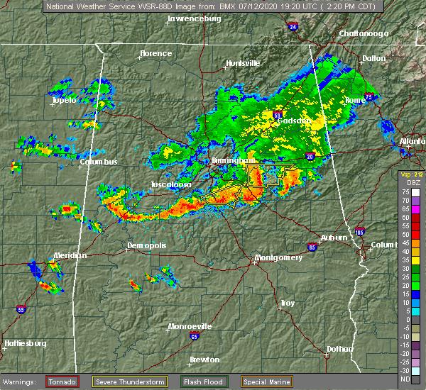 Radar Image for Severe Thunderstorms near Clanton, AL at 7/12/2020 2:26 PM CDT