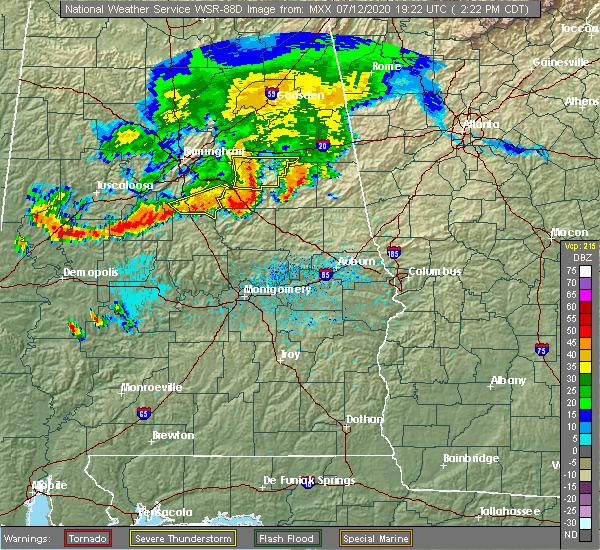 Radar Image for Severe Thunderstorms near Mount Olive, AL at 7/12/2020 2:28 PM CDT