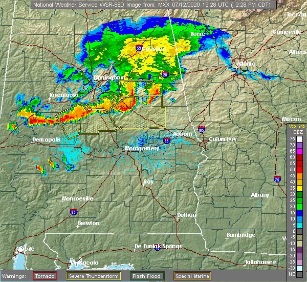 Radar Image for Severe Thunderstorms near Mount Olive, AL at 7/12/2020 2:34 PM CDT