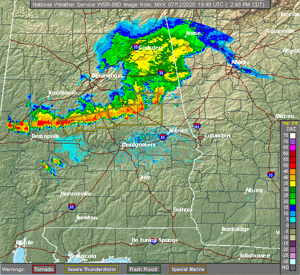 Radar Image for Severe Thunderstorms near Mount Olive, AL at 7/12/2020 2:51 PM CDT