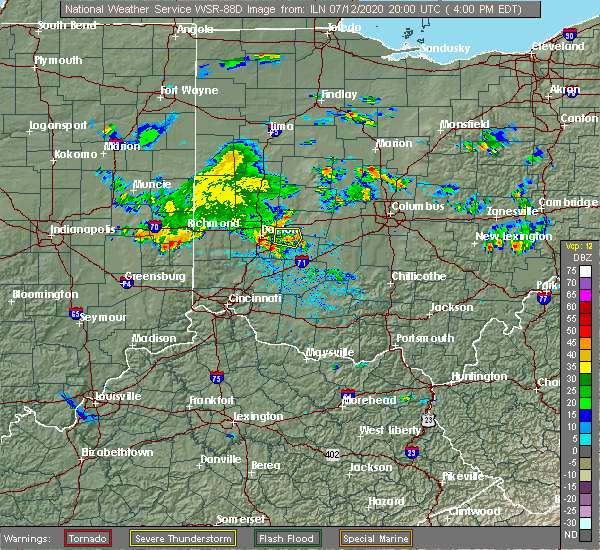 Radar Image for Severe Thunderstorms near Cedarville, OH at 7/12/2020 4:04 PM EDT
