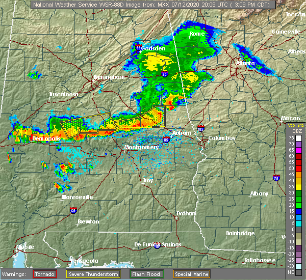 Radar Image for Severe Thunderstorms near Tallassee, AL at 7/12/2020 3:20 PM CDT