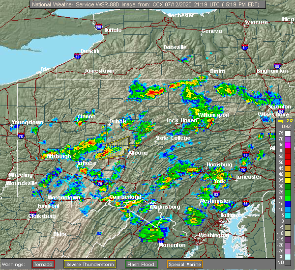 Radar Image for Severe Thunderstorms near Ramey, PA at 7/12/2020 5:20 PM EDT