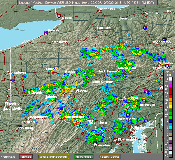 Radar Image for Severe Thunderstorms near Chest Springs, PA at 7/12/2020 5:38 PM EDT