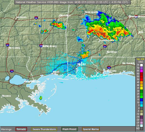 Radar Image for Severe Thunderstorms near Fulton, AL at 7/12/2020 4:59 PM CDT