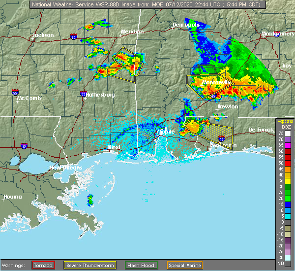 Radar Image for Severe Thunderstorms near Monroeville, AL at 7/12/2020 5:54 PM CDT