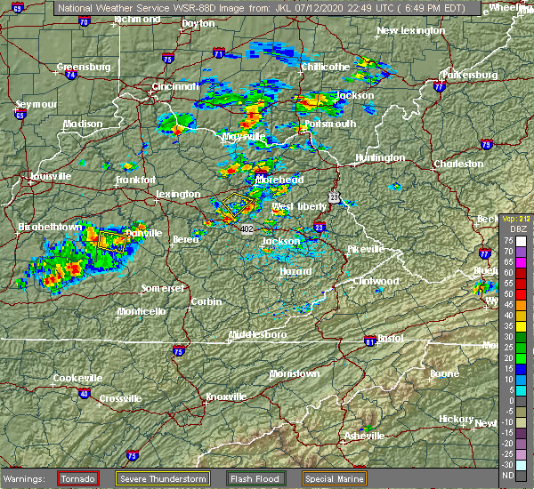 Radar Image for Severe Thunderstorms near Frenchburg, KY at 7/12/2020 6:54 PM EDT