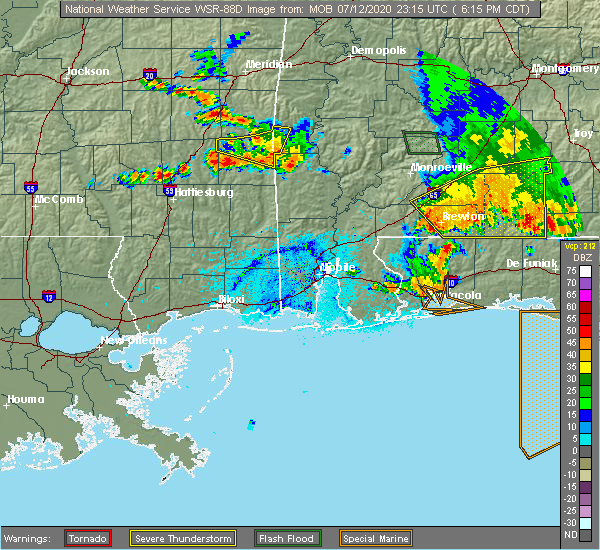 Radar Image for Severe Thunderstorms near Midway, FL at 7/12/2020 6:19 PM CDT