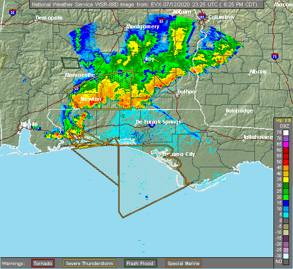 Radar Image for Severe Thunderstorms near Destin, FL at 7/12/2020 6:29 PM CDT