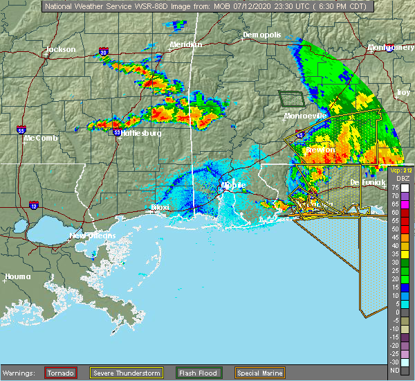 Radar Image for Severe Thunderstorms near State Line, MS at 7/12/2020 6:36 PM CDT