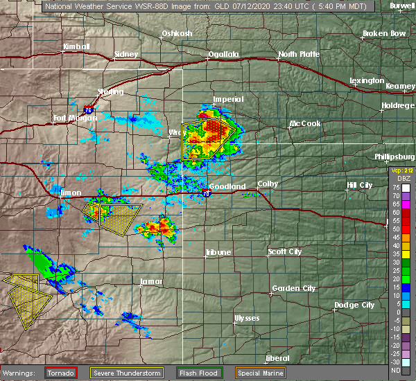 Radar Image for Severe Thunderstorms near Cheyenne Wells, CO at 7/12/2020 5:44 PM MDT