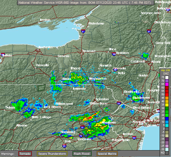 Radar Image for Severe Thunderstorms near Summit Hill, PA at 7/12/2020 7:49 PM EDT